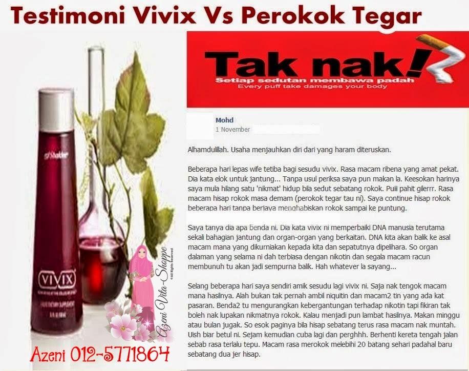 Berhenti Merokok atau Hilangkan Ketagihan Merokok dengan VIVIX Shaklee