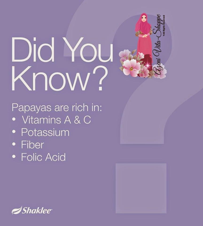 Betik mengandungi Asid folik, Vitamin A dan Postasium